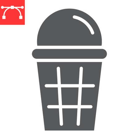 Ice cream glyph icon, dessert and delicious, ice cream in waffle sign vector graphics, editable stroke solid icon