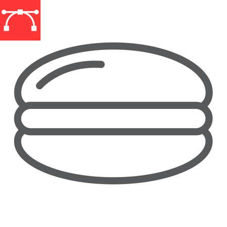 Macaron line icon, dessert and delicious, macaroon sign vector graphics, editable stroke linear icon 矢量图像