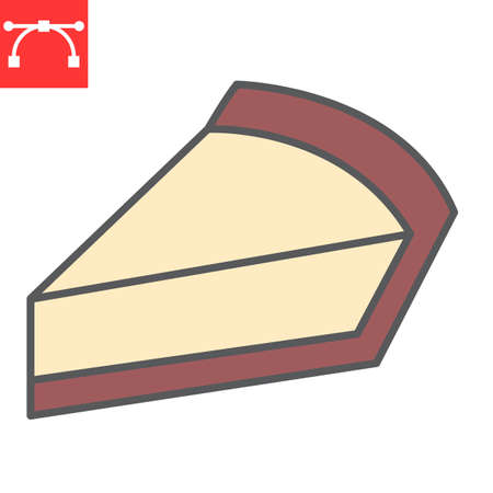 Cheesecake color line icon, dessert and cake, piece of cheesecake sign vector graphics, editable stroke filled outline icon Illustration
