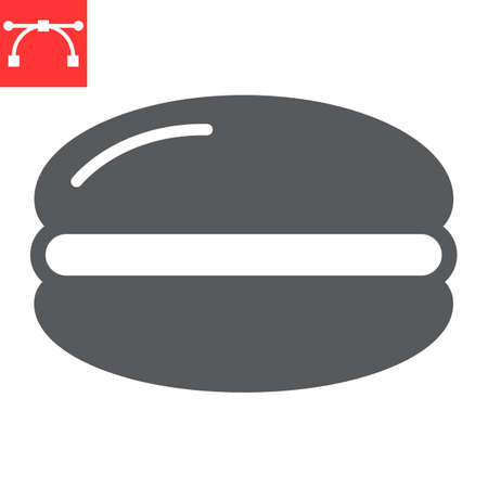 Macaron glyph icon, dessert and delicious, macaroon sign vector graphics, editable stroke solid icon