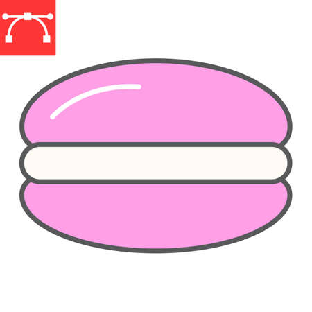 Macaron color line icon, dessert and delicious, macaroon sign vector graphics, editable stroke filled outline icon 矢量图像