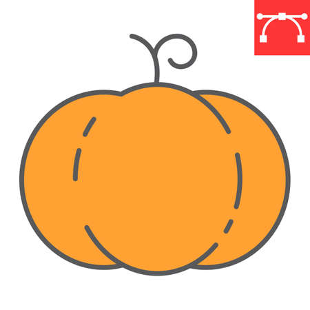 Pumpkin color line icon, thanksgiving and celebration, pumpkin sign vector graphics, editable stroke filled outline icon, eps 10.