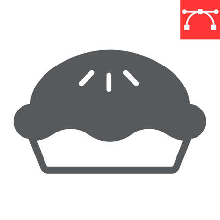 Pie glyph icon, thanksgiving and bakery, pumpkin pie sign vector graphics, editable stroke solid icon, eps 10.