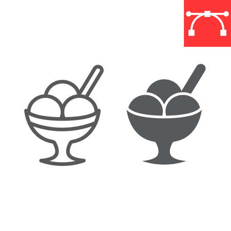 Ice cream in bowl line and glyph icon, dessert and cold, sorbet sign vector graphics, editable stroke linear icon, eps 10.