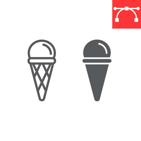 Ice cream cone line and glyph icon, dessert and delicious, ice cream in waffle cone sign vector graphics, editable stroke linear icon, eps 10. 矢量图像