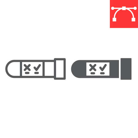 HIV test tube line and glyph icon, aids and hiv, vial for analysis sign vector graphics, editable stroke linear icon, eps 10.