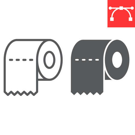 Toilet paper line and glyph icon, hygiene and disinfection, toilet paper sign vector graphics, editable stroke linear icon, eps 10.