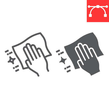 Hand with cleaning napkin line and glyph icon, hygiene and disinfection, wipe surface sign vector graphics, editable stroke linear icon, eps 10.