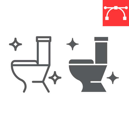 Toilet line and glyph icon, hygiene and disinfection, clean toilet sign vector graphics, editable stroke linear icon, eps 10.