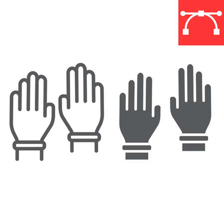 Safety gloves line and glyph icon, hygiene and protection, rubber gloves sign vector graphics, editable stroke linear icon, eps 10. Illustration