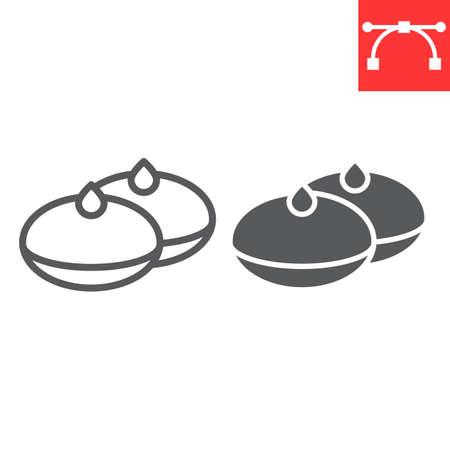 Hanukkah doughnut line and glyph icon, bakery and dessert, hanukkah donut sign vector graphics, editable stroke linear icon, eps 10. 向量圖像