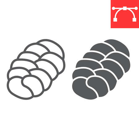 Challah line and glyph icon, bread and loaf, braided bread sign vector graphics, editable stroke linear icon, eps 10.