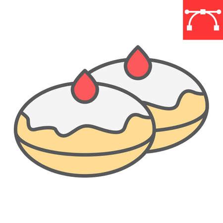 Hanukkah doughnut color line icon, bakery and dessert, hanukkah donut sign vector graphics, editable stroke filled outline icon, eps 10. 向量圖像