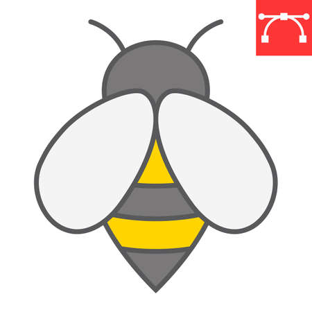 Bee color line icon, insect and honey, bee sign vector graphics, editable stroke filled outline icon, eps 10. Vector Illustration