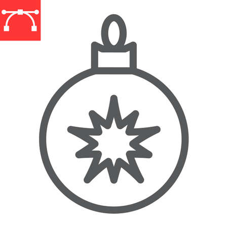 Christmas tree ball line icon, merry christmas and xmas, christmas bauble sign vector graphics, editable stroke linear icon Çizim