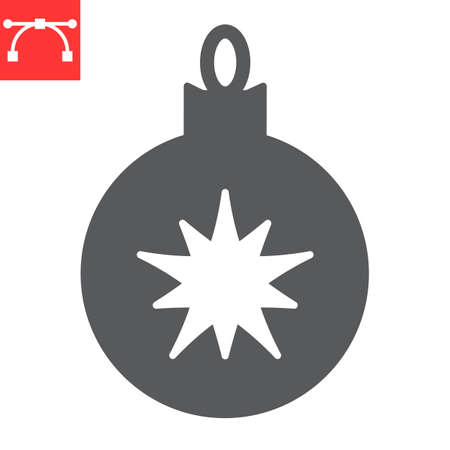 Christmas tree ball glyph icon, merry christmas and xmas, christmas bauble sign vector graphics, editable stroke solid icon