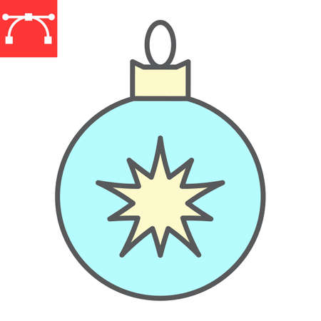 Christmas tree ball color line icon, merry christmas and xmas, christmas bauble sign vector graphics, editable stroke filled outline icon