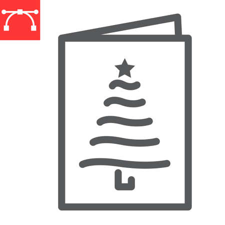 Christmas greeting card line icon, merry christmas and invitation, greeting card sign vector graphics, editable stroke linear icon Çizim