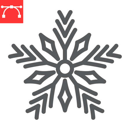 Snowflake line icon, merry christmas and frost, snow sign vector graphics, editable stroke linear icon