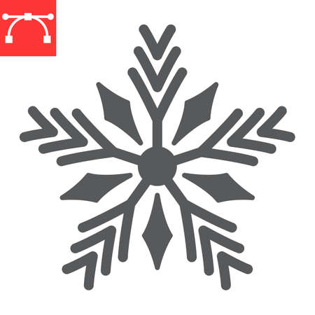 Snowflake glyph icon, merry christmas and frost, snow sign vector graphics, editable stroke solid icon