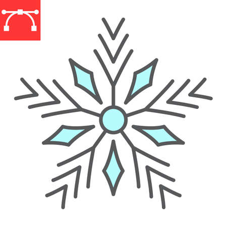 Snowflake color line icon, merry christmas and frost, snow sign vector graphics, editable stroke filled outline icon
