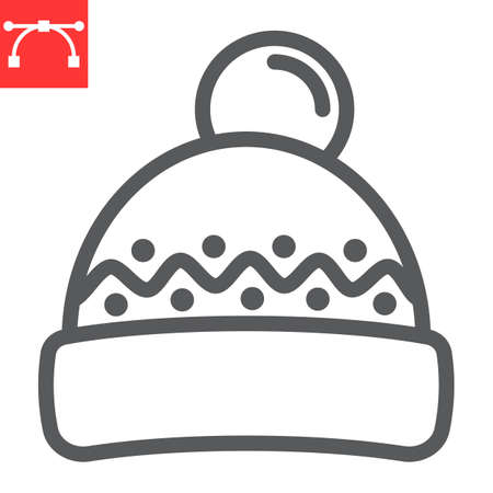 Winter hat line icon, merry christmas and clothing, beanie hat sign vector graphics, editable stroke linear icon