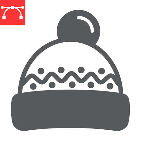 Winter hat glyph icon, merry christmas and clothing, beanie hat sign vector graphics, editable stroke solid icon
