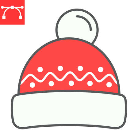 Winter hat color line icon, merry christmas and clothing, beanie hat sign vector graphics, editable stroke filled outline icon