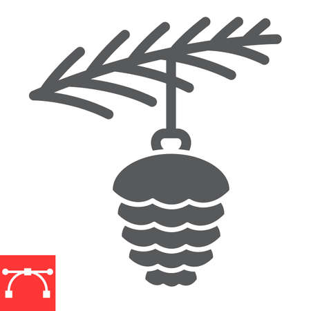 Spruce cone toy with branch glyph icon, merry christmas and pine branch, christmas bauble sign vector graphics, editable stroke solid icon Çizim