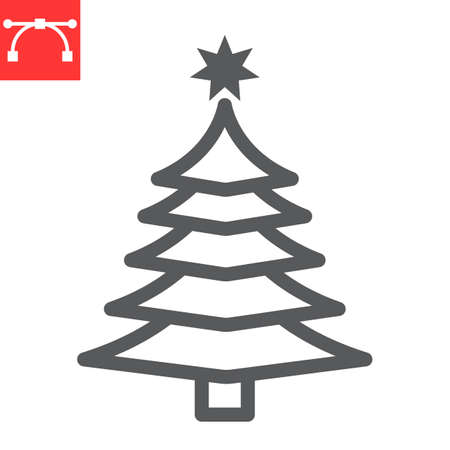Christmas tree line icon, merry christmas and xmas, fir tree sign vector graphics, editable stroke linear icon