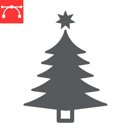 Christmas tree glyph icon, merry christmas and xmas, fir tree sign vector graphics, editable stroke solid icon