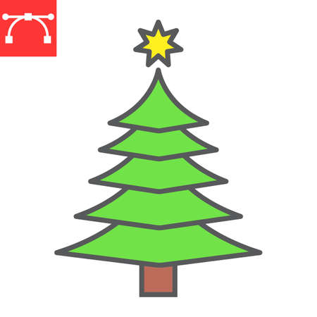 Christmas tree color line icon, merry christmas and xmas, fir tree sign vector graphics, editable stroke filled outline icon