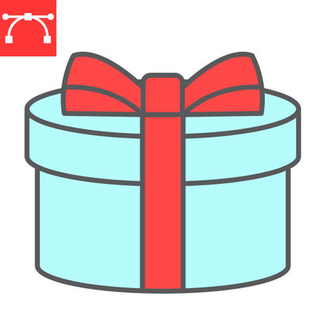 Gift color line icon, merry christmas and package, present sign vector graphics, editable stroke filled outline icon