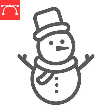 Snowman line icon, merry christmas and xmas, snowman sign vector graphics, editable stroke linear icon Çizim
