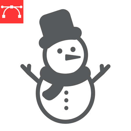 Snowman glyph icon, merry christmas and xmas, snowman sign vector graphics, editable stroke solid icon
