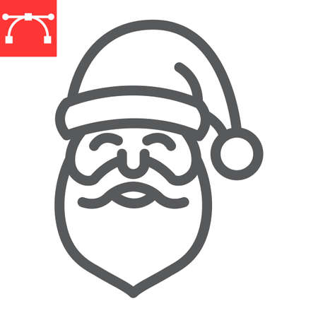 Santa Claus line icon, merry christmas and xmas, new year sign vector graphics, editable stroke linear icon