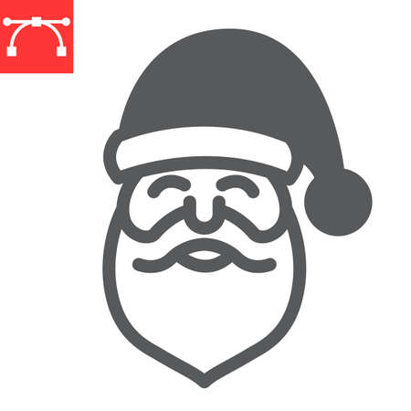 Santa Claus glyph icon, merry christmas and xmas, new year sign vector graphics, editable stroke solid icon Çizim