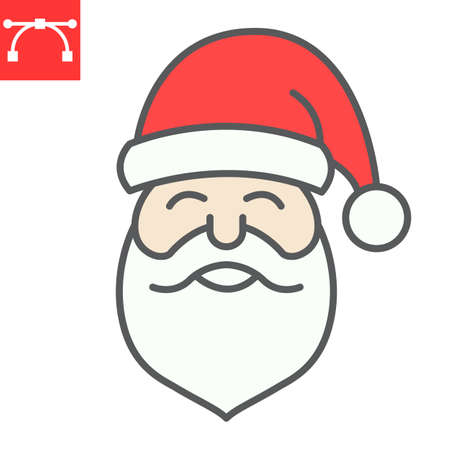 Santa Claus color line icon, merry christmas and xmas, new year sign vector graphics, editable stroke filled outline icon Çizim
