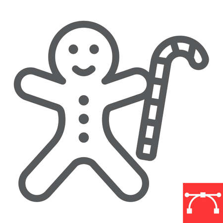 Gingerbread man line icon, merry christmas and cookie, gingerbread man sign vector graphics, editable stroke linear icon