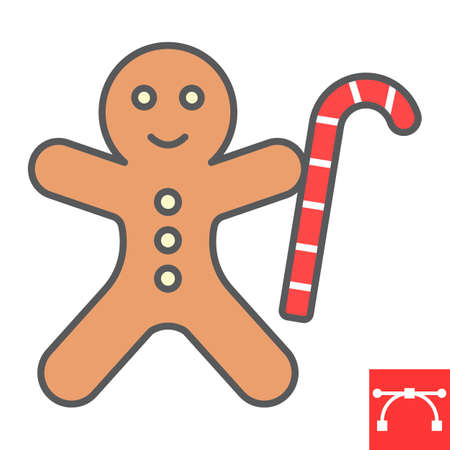 Gingerbread man color line icon, merry christmas and cookie, gingerbread man sign vector graphics, editable stroke filled outline icon