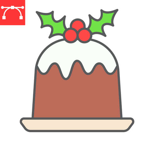 Christmas pudding color line icon, merry christmas and dessert, holly berries sign vector graphics, editable stroke filled outline icon