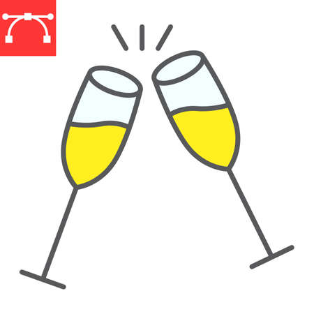 Champagne glasses color line icon, merry christmas and toast, two glasses of champagne sign vector graphics, editable stroke filled outline icon