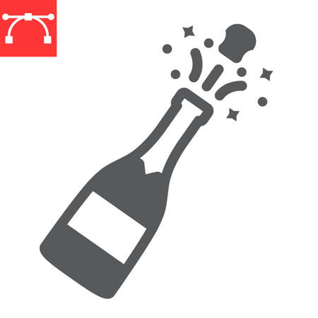 Champagne bottle popping glyph icon, merry christmas and drink, alcohol sign vector graphics, editable stroke solid icon