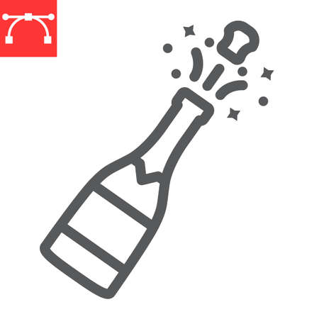 Champagne bottle popping line icon, merry christmas and drink, alcohol sign vector graphics, editable stroke linear icon
