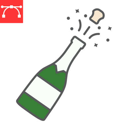 Champagne bottle popping color line icon, merry christmas and drink, alcohol sign vector graphics, editable stroke filled outline icon