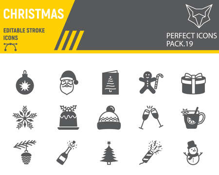 Christmas line icon set, happy new year collection, vector sketches, logo illustrations, merry christmas icons, holiday signs linear pictograms, editable stroke.