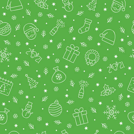 Christmas icons seamless pattern, Christmas ornaments, seamless pattern for Christmas and New Year on green background.