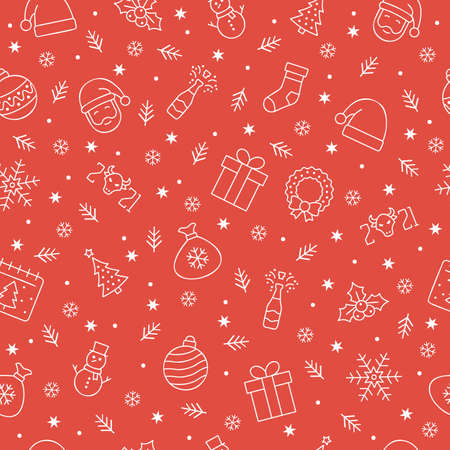Christmas icons seamless pattern, Christmas ornaments, seamless pattern for Christmas and New Year on red background.