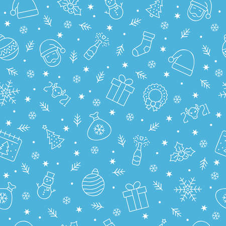 Christmas icons seamless pattern, Christmas ornaments, seamless pattern for Christmas and New Year on blue background. Çizim