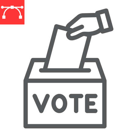 Hand voting ballot box line icon, election and vote, vote box sign vector graphics, editable stroke linear icon,  .